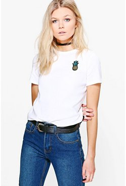 White Petite Pineapple Badge T-Shirt