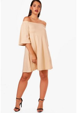 Sand beige Plus  Off The Shoulder Swing Dress