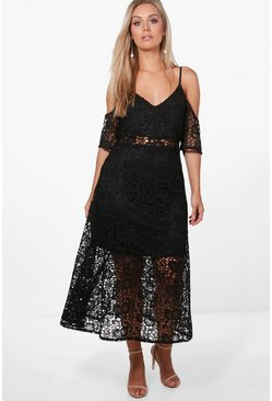 Black Plus  Crochet Lace Premium Skater Dress