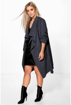 Charcoal grey Plus  Wool Look Wrap Front Coat