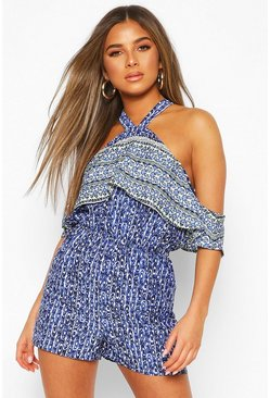 Blue Petite Frill Cutaway Shoulder Playsuit
