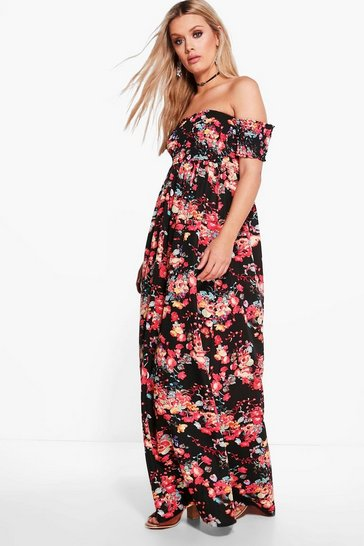 Multi Plus  Off The Shoulder Floral Maxi Dress