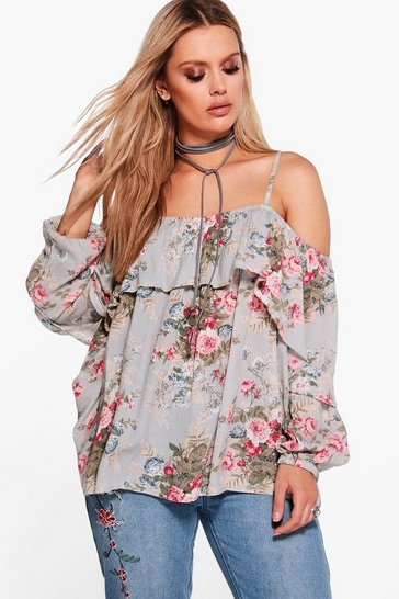 Multi Plus Floral Open Shoulder Top
