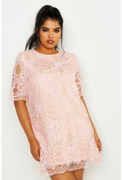 Blush pink Plus  All Over Lace Shift Dress
