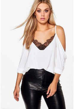 Cream white Plus  Lace Trim V Neck Cold Shoulder Top