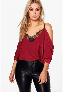 Wine red Plus  Lace Trim V Neck Cold Shoulder Top