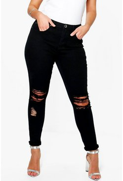 Black Plus  Ripped Knee Stretch Skinny Jean