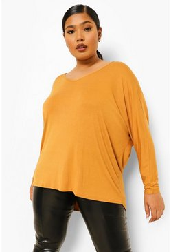 Amber orange Plus Long Sleeve Basic T-Shirt