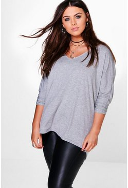 Grey Plus Long Sleeve Basic T-Shirt