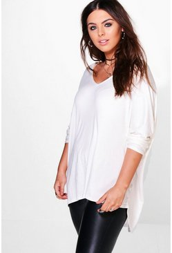 Ivory white Plus Long Sleeve Basic T-Shirt