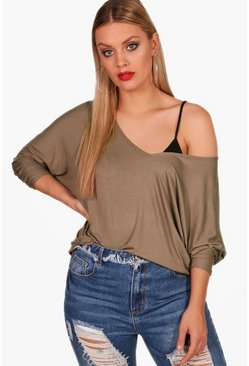 Mink beige Plus Long Sleeve Basic T-Shirt