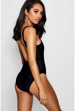 Black Petite Scoop Back Swimsuit