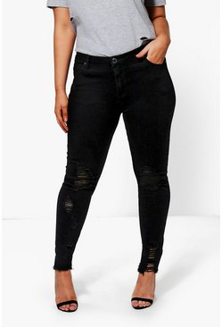 Plus  Raw Edge Ripped Skinny Jean, Черный Чёрный