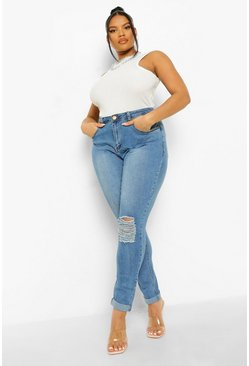 Blue Plus  Ripped Knee Stretch Skinny Jean