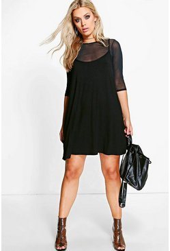 Black Plus Mesh 2 In 1 Cami Dress