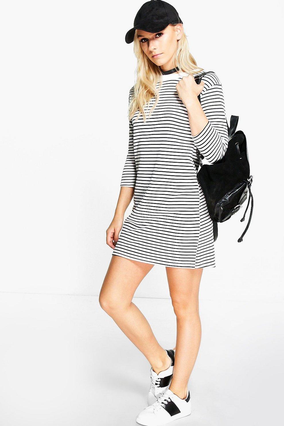 Petite Lilly 3/4 Sleeve Stripe T-Shirt Dress   boohoo