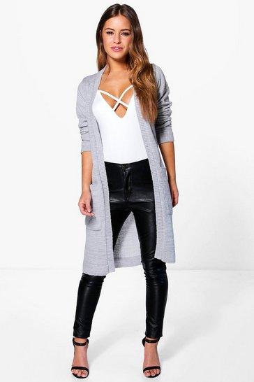 Silver Petite Midi Length Cardigan With Pockets