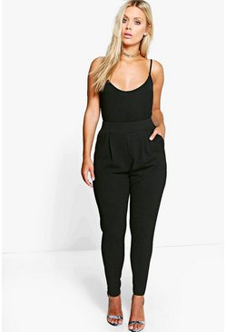 Black Plus  Pleat Front Trouser
