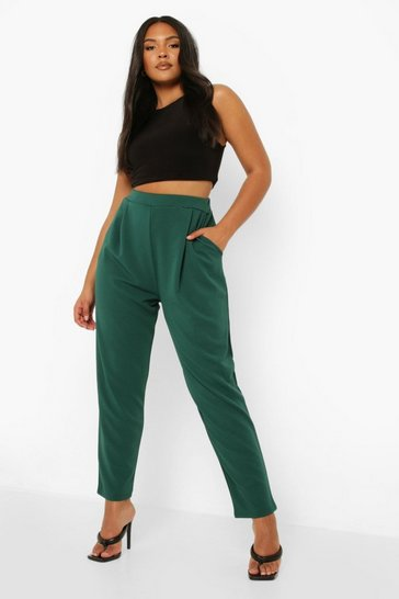 Evergreen green Plus Pleat Front Trouser