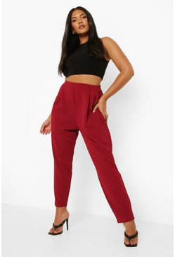 Wine red Plus  Pleat Front Trouser