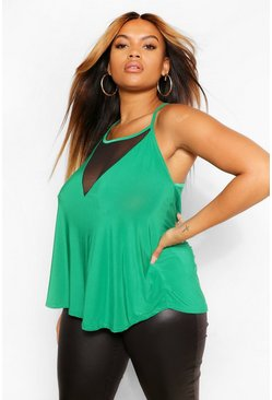 Emerald green Plus  Mesh Front Cami