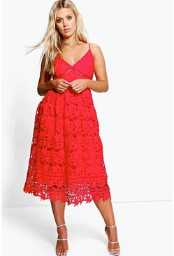 Red Plus Leila Applique V Neck Lace Skater Dress