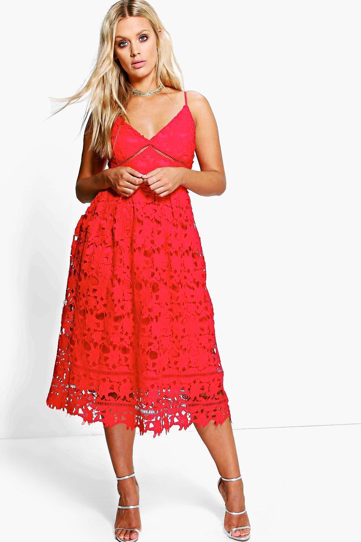Plus Leila Applique V Neck Lace Skater Dress 6