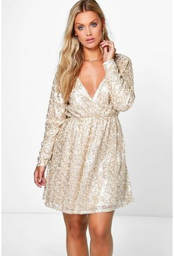 Gold Plus Sequin Wrap Skater Dress