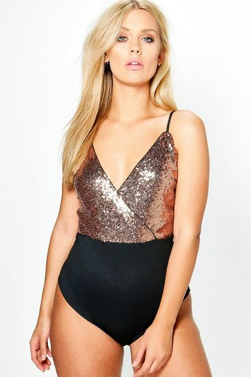 Bronze metallic Plus Wrap Sequin Bodysuit