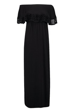 Black Petite Bardot Trim Detail Maxi Dress