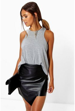 Black Petite Asymmetric PU Mini Skirt
