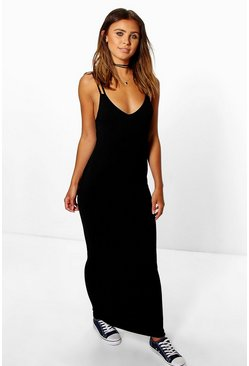 Black Petite Strappy Basic Maxi Dress
