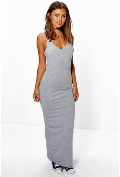 Grey marl grey Petite Strappy Basic Maxi Dress