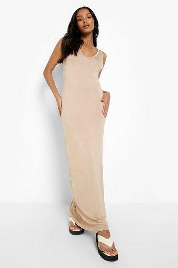 Stone beige Petite Strappy Basic Maxi Dress