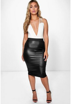 Zwart black Plus PU-midirok