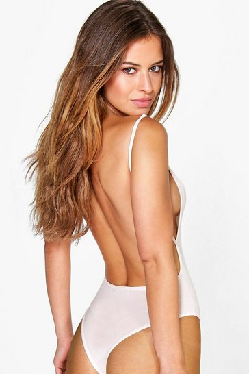 Nude Petite Backless Strappy Thong Bodysuit