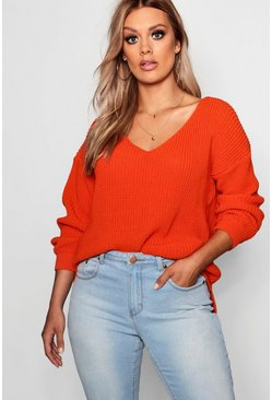 Orange Plus  Oversized V Neck Jumper