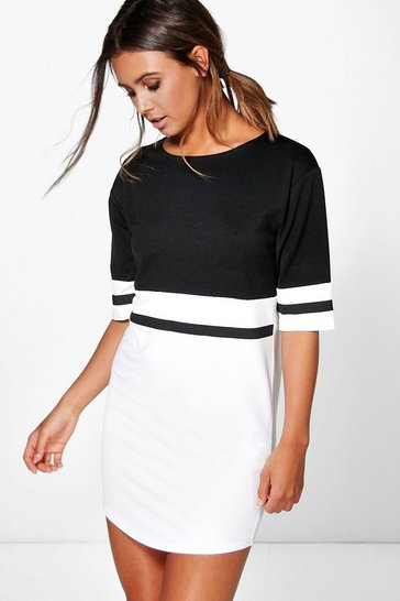 Multi Petite  Curve Hem Colour Block Dress
