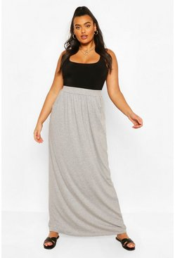 Grey marl grey Plus  Pocket Front Jersey Maxi Skirt