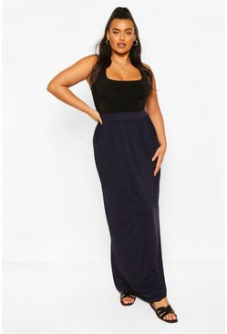 Navy Plus  Pocket Front Jersey Maxi Skirt