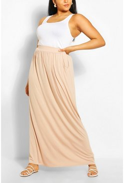 Stone beige Plus  Pocket Front Jersey Maxi Skirt