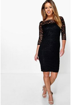 Black Petite Lace Bardot Midi Dress