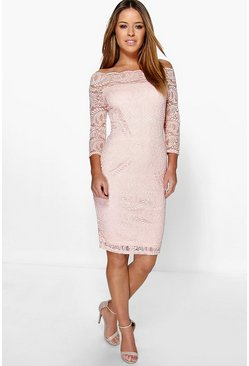 Nude Petite Lace Bardot Midi Dress