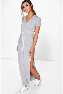 Grey marl grey Petite Wrap Front Drawstring Waist Maxi Dress