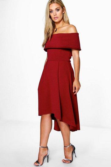 Merlot red Plus  Double Layer Midi Dress