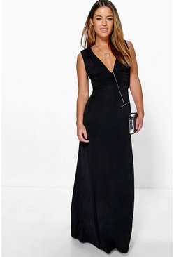Black Petite  Plunge Ruched Maxi Dress