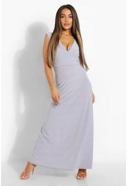 Grey Petite  Plunge Ruched Maxi Dress