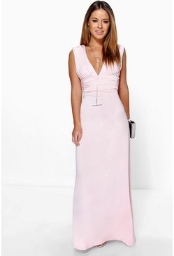 Rose pink Petite  Plunge Ruched Maxi Dress