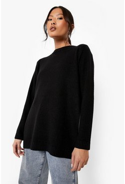 Black Petite Side Split Tunic Jumper