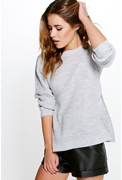 Grey Petite Side Split Tunic Jumper